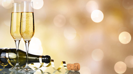 New year champagne banner golden background Stock Photo
