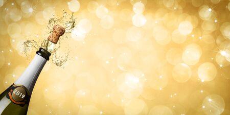 Fond de réveillon du nouvel an, flûtes à champagne Banque d'images