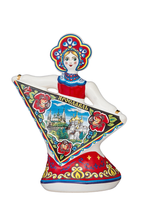 ceramic souvenir toy in the form of matryoshka with beautiful color painting on isolated white background reflecting the national Russian culture with the inscription in Russian: city name Yaroslavl