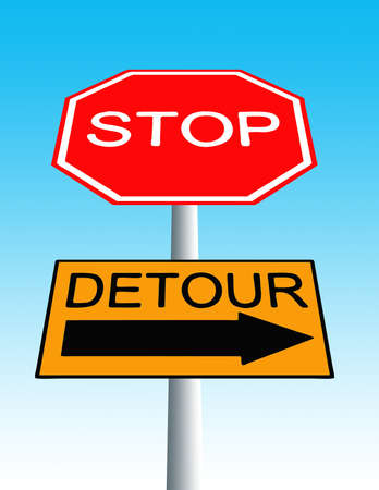 road sign with stop sign and detour sign
