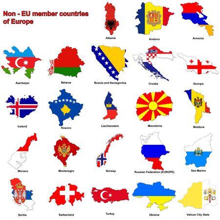 flag maps of all the non - member european countries of the european union