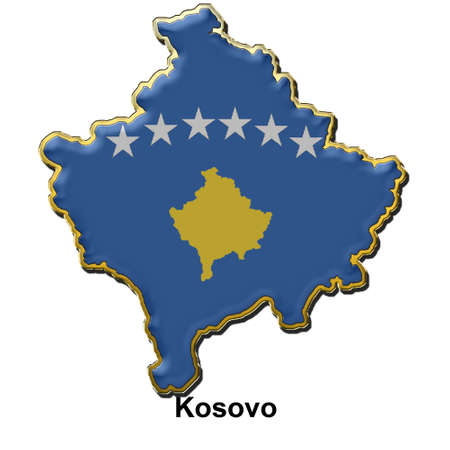 map shaped flag of Kosovo in the style of a metal pin badge Stock Photo - 2933354