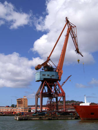 Large industrial shipping crane at Gothenburg harbour. photo