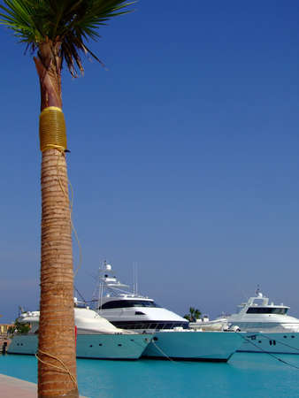 luxury yachts berthed at the sekalla port in hurghada Stock Photo