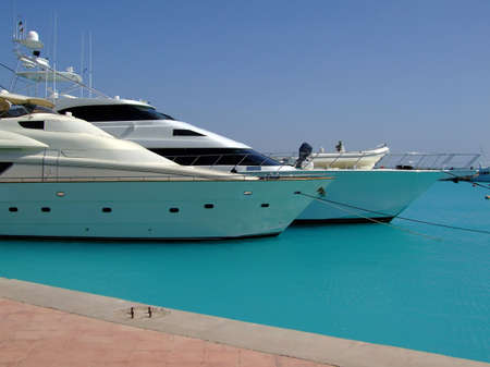 hurghada: luxury yachts berthed at the sekalla port in hurghada Stock Photo