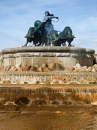 Portrait image of the gefion fountain situated in Copenhagen, Denmark