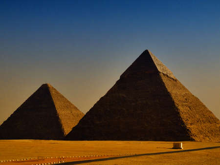chephren: two of the great pyramids of giza in Egypt