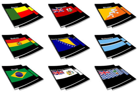 paperback books: Part of the collection series of flags of the world printed on a paperback books