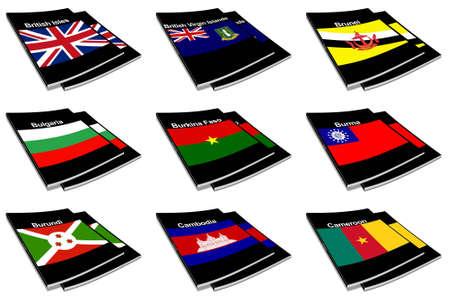 paperback: Parte la raccolta di serie di bandiere del mondo stampato su un libro in brossura Archivio Fotografico