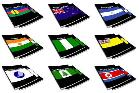 niue: Part of the collection series of flags of the world printed on a paperback books