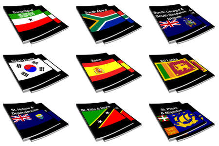 Part of the collection series of flags of the world printed on a paperback books