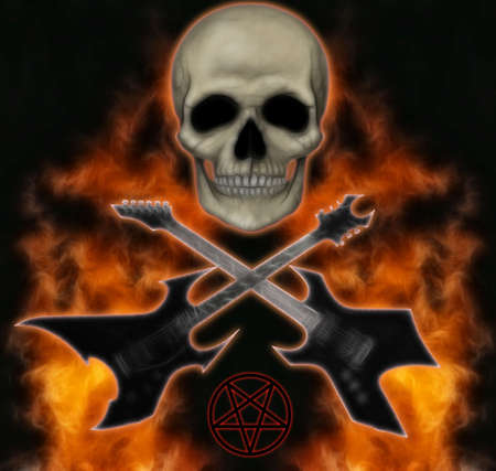 heavy metal image of skull, flames and guitars.