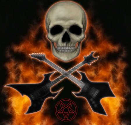 pentagramma musicale: metalli pesanti immagine del cranio, fiamme e chitarre. Archivio Fotografico