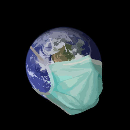 ailment: A graphic representation of the earth in the grip of a pandemic situation. Stock Photo