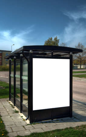 shelter: A high dynamic range image of a bus stop with a blank bilboard for your advertising