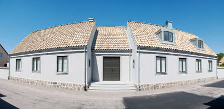 renewed: A panoramic image of an old renovated house in the swedish town of Torekov.