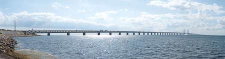 A panoramic image of the oresundsbron the bridge that connects Sweden with Denmark and one of the longest of its kind in the world.