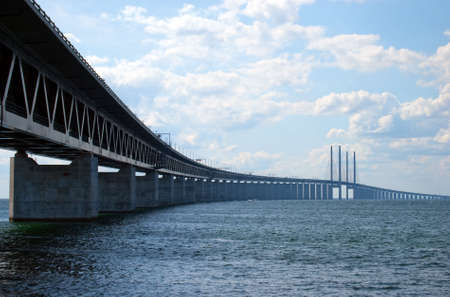 An image of the oresundsbron the bridge that connects Sweden with Denmark and one of the longest of its kind in the world.