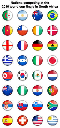 All of the nations competing at the 2010 FIFA world cup finals in south africa Stock Photo