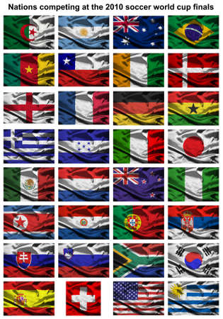 finals: All of the nations competing at the 2010 FIFA world cup finals in south africa Stock Photo