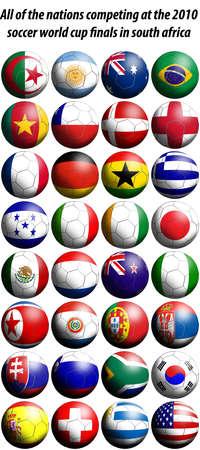 Todas las Naciones que compiten en las finales de Copa del mundo de fútbol de 2010 en Sudáfrica se representan como el fútbol en forma de banderas. Foto de archivo - 5995308