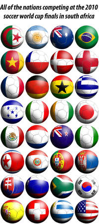 Todas las Naciones que compiten en las finales de Copa del mundo de f�tbol de 2010 en Sud�frica se representan como el f�tbol en forma de banderas. Foto de archivo - 5995308