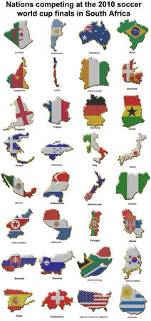 All of the nations competing at the 2010 FIFA world cup finals in south africa photo