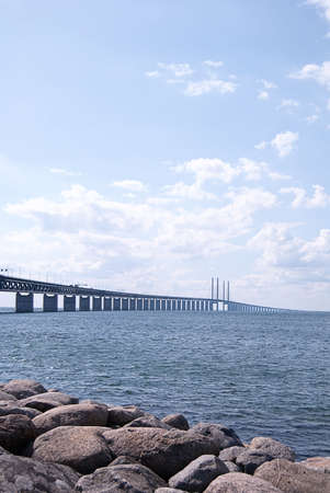 An image of the oresundsbron the bridge that connects Sweden with Denmark and one of the longest of its kind in the world. photo