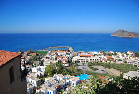 elevated: An elevated view of the greek resort of platanias on the island of Crete. Stock Photo
