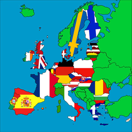 A map of Europe with all the EU member countries represented by their flags. Stock Photo