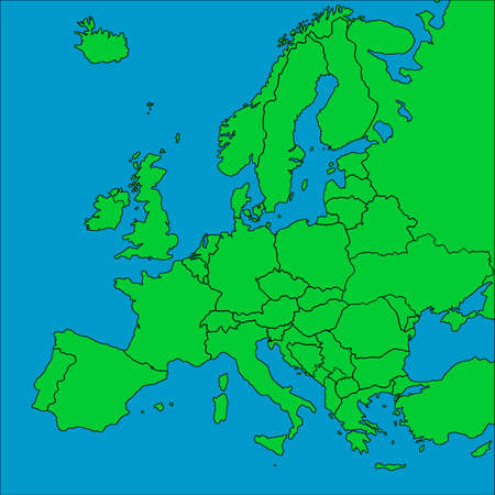 netherlands map: A map of Europe with all countries borders represented.