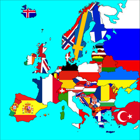 A map of Europe with all countries borders and flags represented. photo
