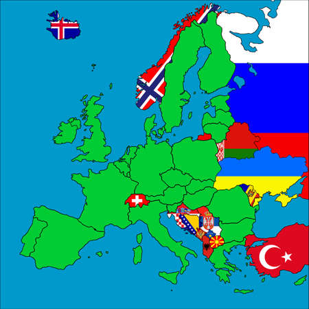 A map of Europe with all the non-EU member countries represented by their flags. photo