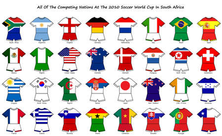 A collection of kit shaped flags of all of the national soccer teams competing at the 2010 world cup finals in south africa. photo