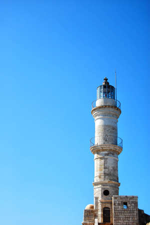 kreta: The old venetian lighthouse situated at Charnia on the greek island of crete. Stock Photo