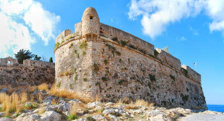 fortezza: A panoramic image of the Palaiokastro venetian fort thats also known as the fortezza castle in the Greek town of Rethymnon on the island of crete.