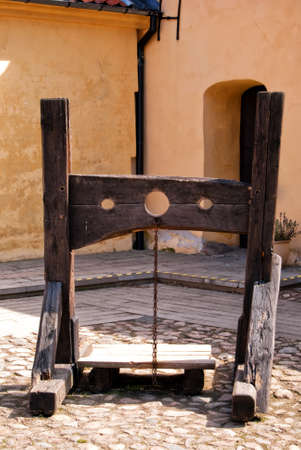 punish: A medieval torture device situated on the grounds of glimmingehus castle in Sweden.