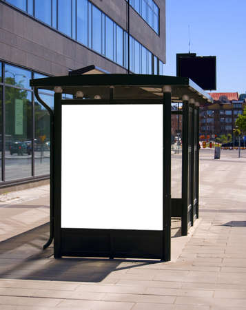 An image of a bus stop with a blank bilboard for your advertising situated in the swedish city of Malmo.