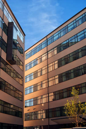 commercial real estate: An image of the exterior of a corporate office building facility.