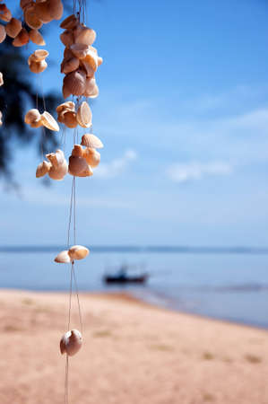 A selectively focused image of strings of seashells against a backdrop of a tropical beach. photo