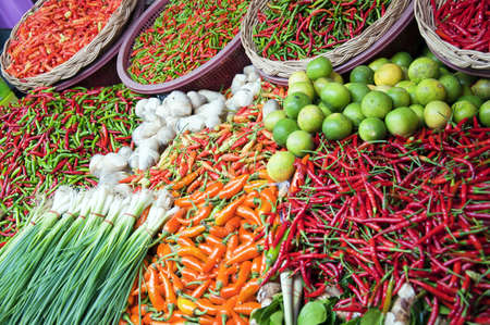 thai pepper: A fresh food market stall situated in the town of Hua Hin in Thailand.