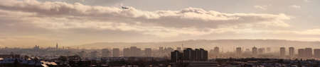 glasgow: A panoramic image of the scottish city of Glasgow taken from afar. Stock Photo