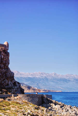 fortezza: An image of the Palaiokastro venetian fort thats also known as the fortezza castle in the Greek town of Rethymnon on the island of crete. Stock Photo