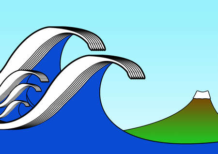 tsunami: A graphic illustration to represent the power of a tsunami as it approaches land.