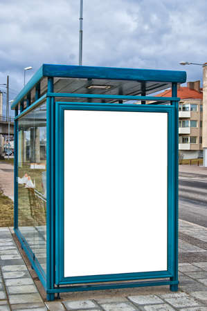An image of a bus stop with a blank bilboard for your advertising situated in the swedish city of Helsingborg. photo