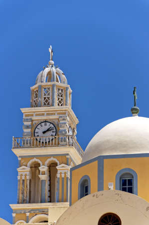 fira: The catholic cathedral situated in the capital town of fira on the greek island of santorini.