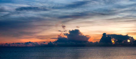 A beautiful panoramic view of the sea and sky looking across the bay of Thailand at Hua Hin. photo