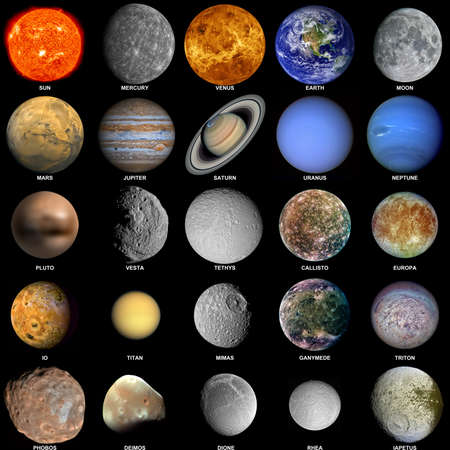 tethys: All of the planets that make up the solar system with the sun and prominent moons included. Stock Photo