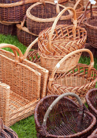 cepelia: A selection of hand crafted wicker baskets for many uses. Shallow depth of field used with selective focus on the foreground region.