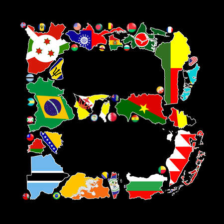 Flag maps and flag badges of all the countries in the world starting with the letter B make up the letter B. photo